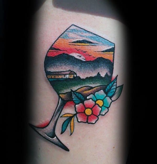 Old School Traditional Nature Landscape Wine Mens Tattoo Designs On Arm