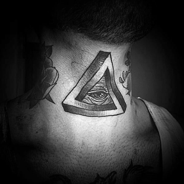 Old School Traditional Neck Male With Cool Penrose Triangle Tattoo Design