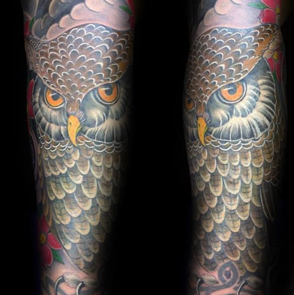 Old School Traditional Owl Forearm Sleeve Tattoo Ideas For Men