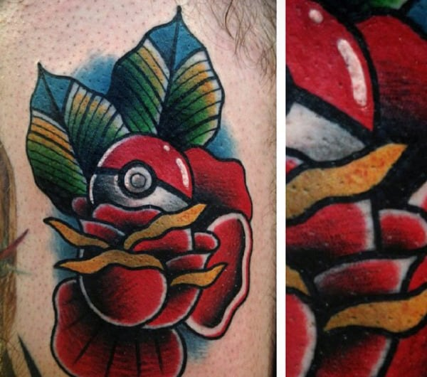 Old School Traditional Poke Ball With Rose Flower Mens Rib Cage Side Tattoo
