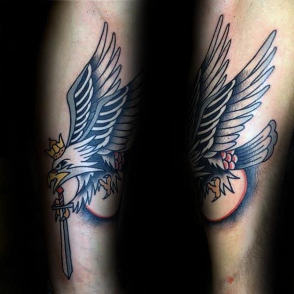Old School Traditional Polish Eagle Male Foearm Tattoo Ideas