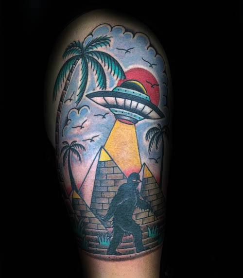 Old School Traditional Pyramids With Bigfoot Guys Tattoos