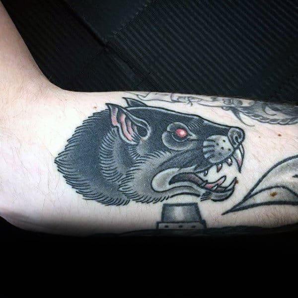 Old School Traditional Rat Head Mens Arm Tattoo