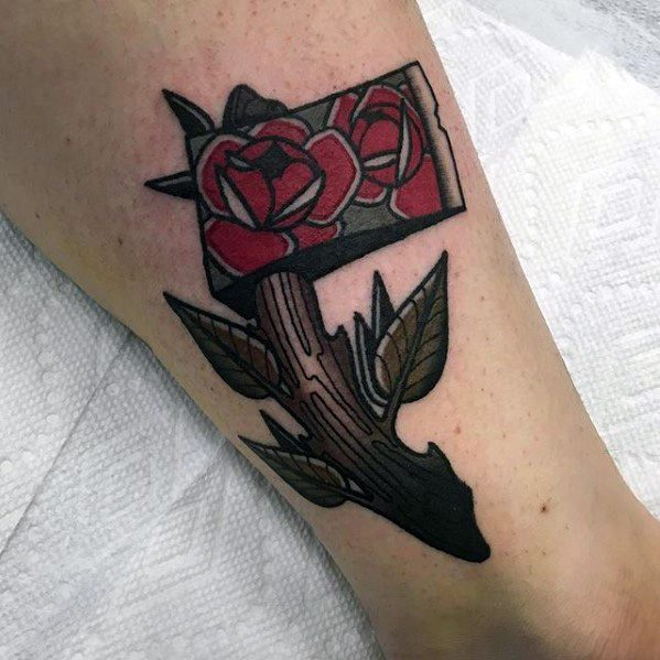 Old School Traditional Rose Flower Themed Axe Mens Tattoo Ideas On Leg