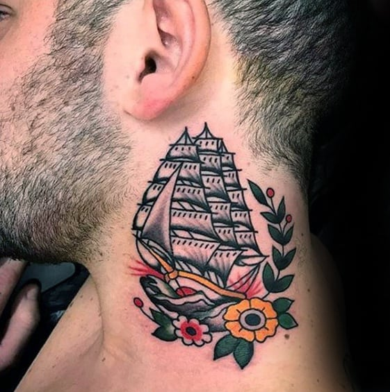 Old School Traditional Sailing Ship Guys Small Neck Tattoo