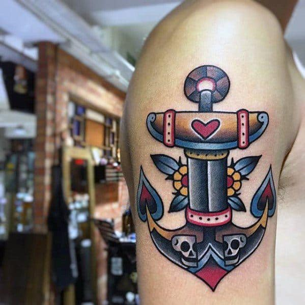 Old School Traditional Skulls With Colorful Unique Anchor Tattoo For Men
