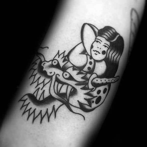 Old School Traditional Smal Mens Simple Dragon Tattoo Designs
