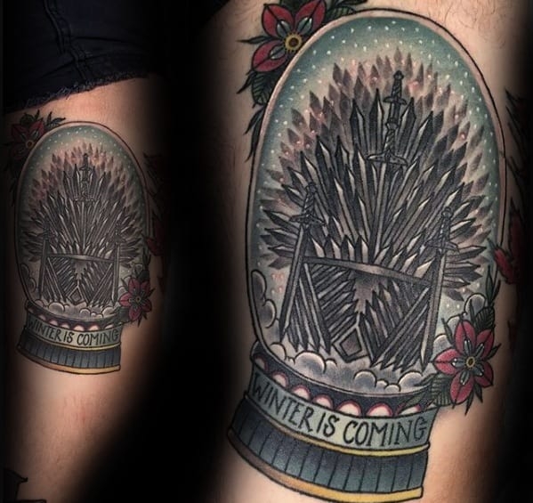 Old School Traditional Snow Globe Game Of Thrones Mens Tattoos