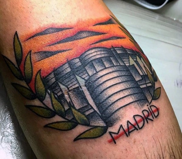 Old School Traditional Soccer Stadium Leg Guys Tattoo Ideas Real Madrid Designs