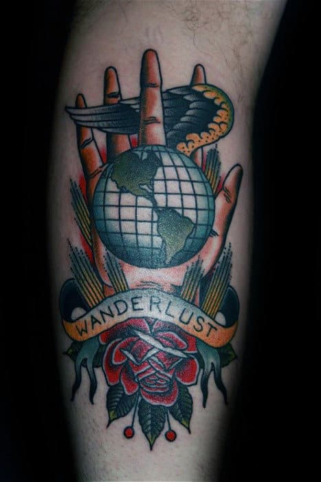 Old School Traditional Themed Male Wanderlust Leg Tattoo