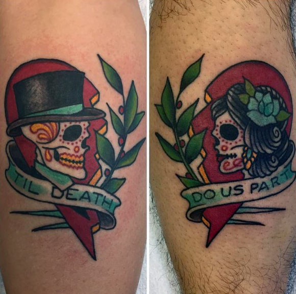 Old School Traditional Til Death Do Us Part Heart Couples Tattoos