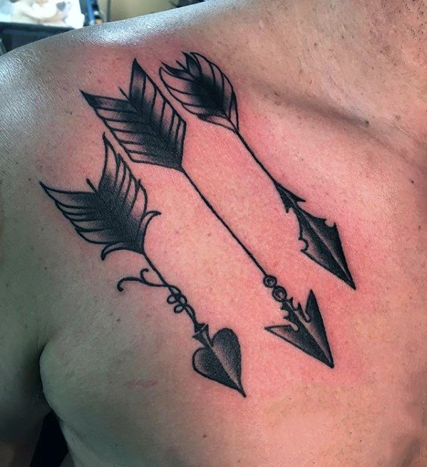 Old School Traditional Upper Chest Guys Small Three Arrow Tattoos