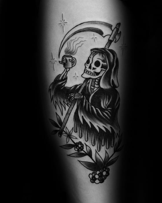 Old School Traditionalc Male Grim Reaper Coffee Forearm Tattoo Ideas