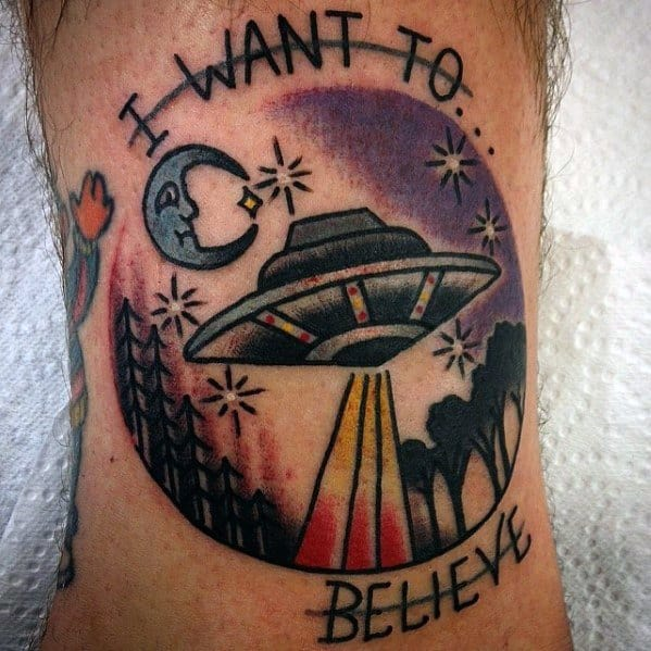 Old School Traditonal Arm Amazing Mens I Want To Believe Tattoo Designs