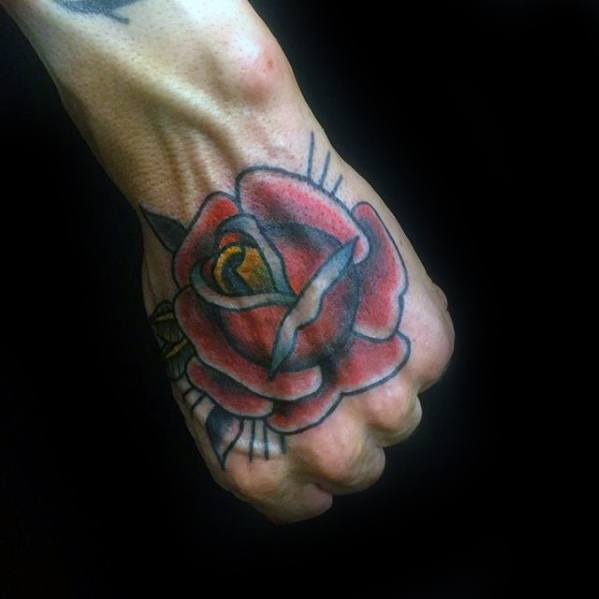 Old School Tradtional Rose Flower Cool Male Simple Hand Tattoo Designs