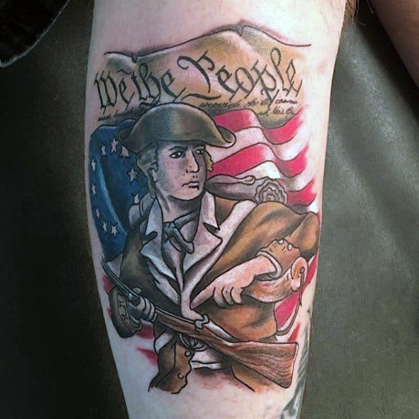 Old School We The People Soldier Male Leg Tattoo