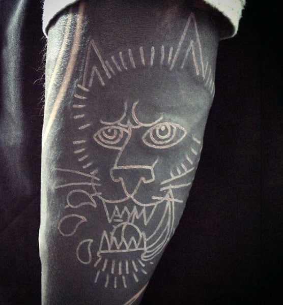 Old School White Ink Outline Panther Tattoo Sleeve For Guys