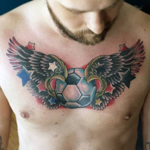 Old School Wings Soccerball Mens Tattoo On Chest