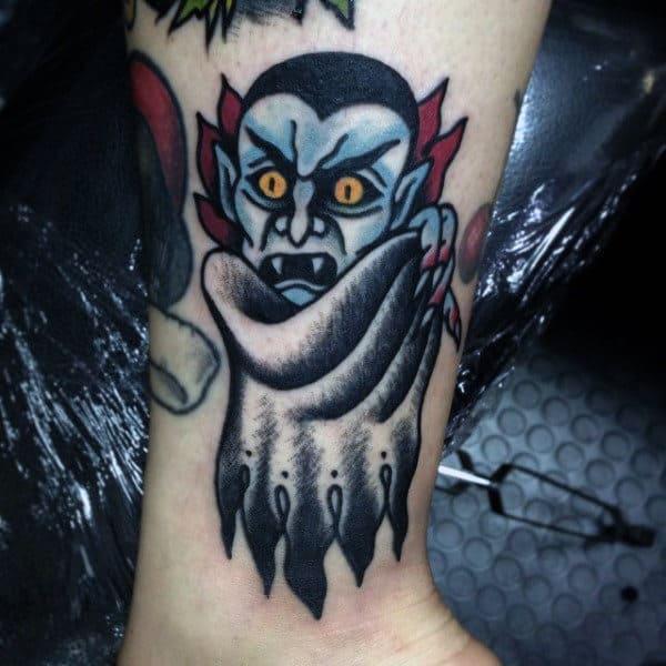 Old School Wrist Mens Vampire Bat Tattoo
