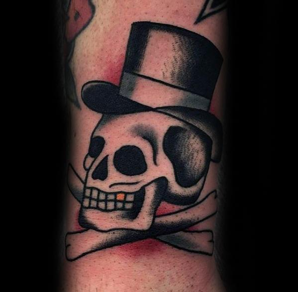 Old Scool Traditional Forearm Mens Skull With Top Hat Tattoo Design Inspiration