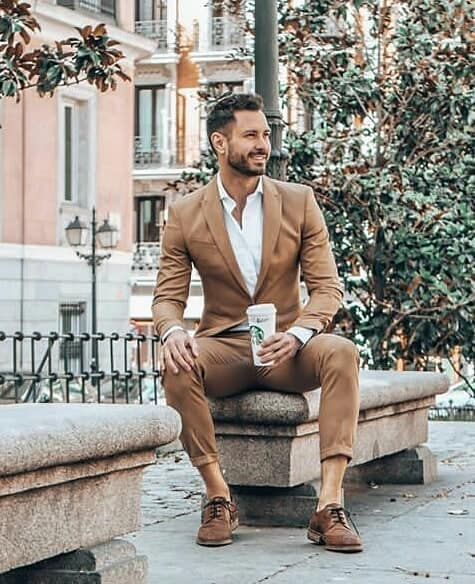 Old Style Brown Suit Mens Fashion