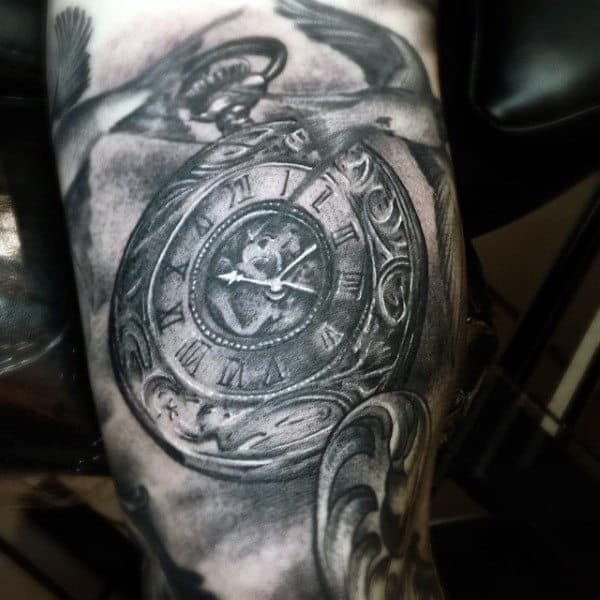 grandfather clock face tattoo. old style pocket watch tattoo arms men grandfather clock face