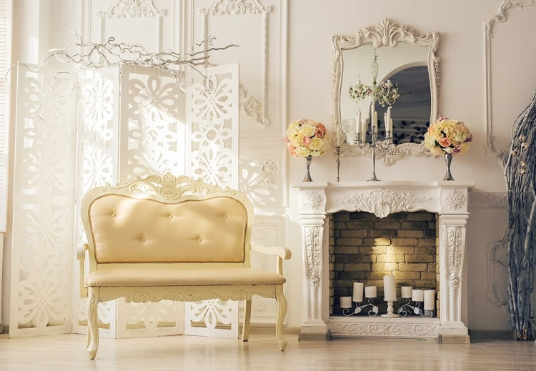 Old Stylish Vintage Furniture Mantel Decor