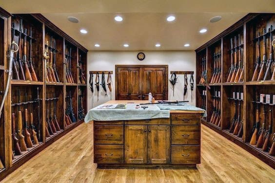 Old Traditional Wood Shotgun Gun Room Ideas
