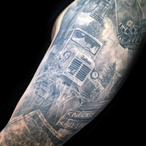 Old Truck In The Woods Mens Sleeve Tattoos