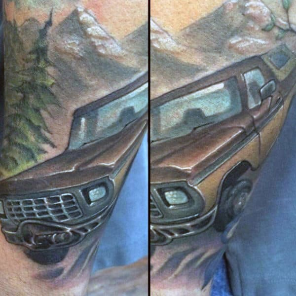 Old Truck Mens Mountain And Trees Tattoo