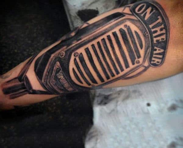 Olden Era Microphone Tattoo Mens Forearms