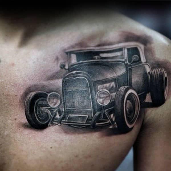 Olf Grey Hot Rod Tattoo Mens Chest
