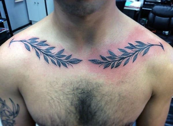 Olive Branch Mens Collar Bone Tattoos