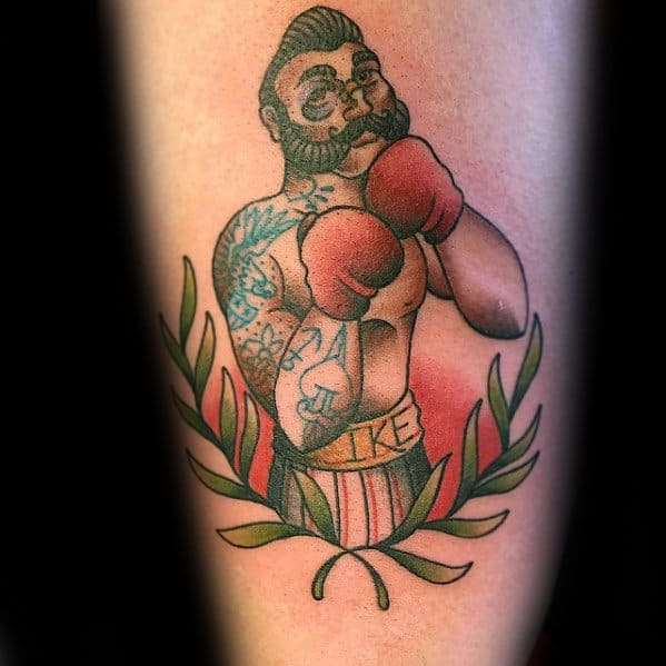 Olive Branch With Boxer Mens Arm Traditional Tattoos