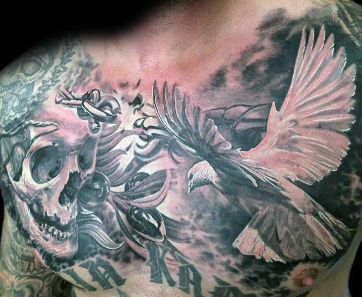 Olive Branch With Flying White Dove Mens Chest Tattoos