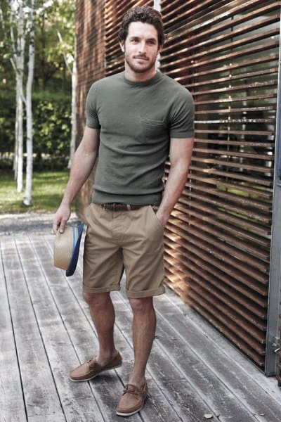 Olive Green Shirt With Tan Shorts Guys Summer Outfits Fashion Ideas