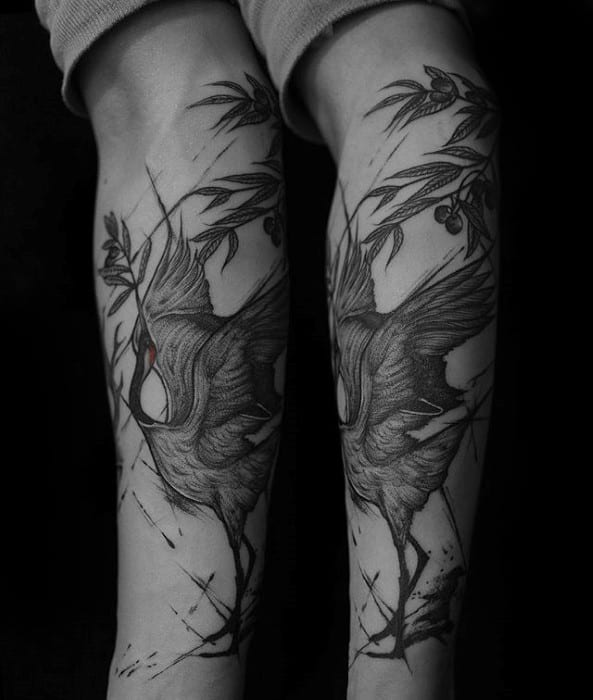 Olive Tree With Swan Forearm Tattoo Designs For Guys