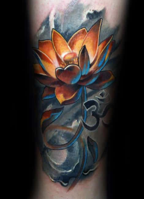 om-glowing-orange-lotus-flower-mens-watercolor-forearm-tattoos