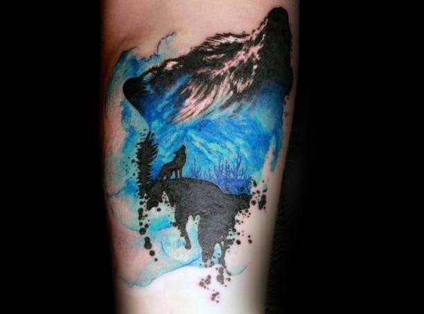 On Leg Mens Cool Wolf Watercolor Tattoo Ideas
