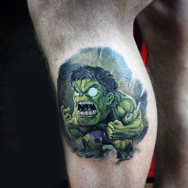 One Eyed Hulk Tattoo Male Legs