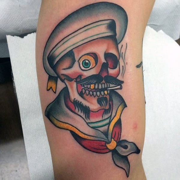 One Eyed Smoking Skull Traditional Tattoo Guys Forearms