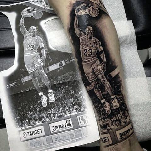 One Handed Dunk Mens Jordan Leg Tattoos