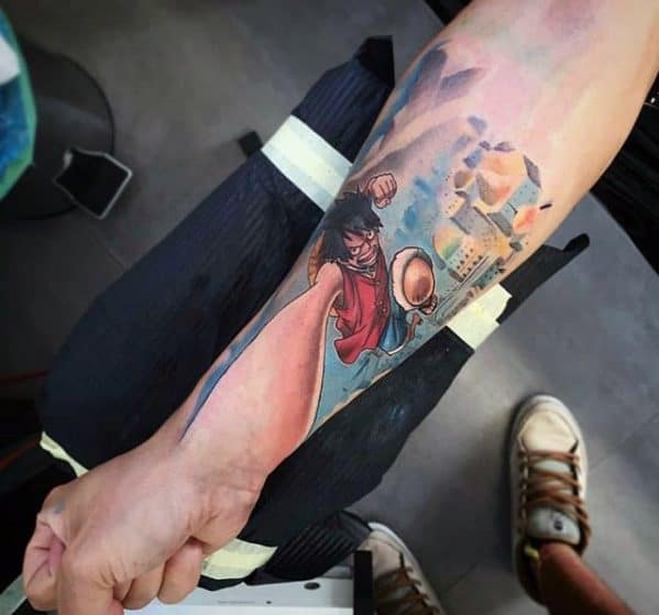 One Piece 3d Inner Forearm Mens Tattoo Designs