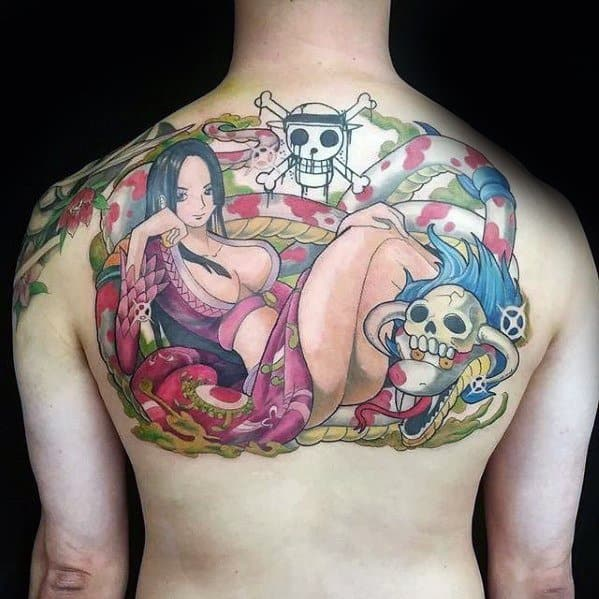 One Piece Mens Tattoos On Upper Back