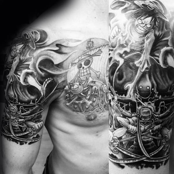 One Piece Tattoo Design On Man Half Sleeve And Chest