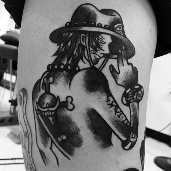 One Piece Tattoo On Men On Thigh