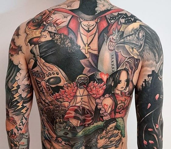 One Piece Themed Full Back Mens Tattoo Ideas