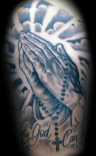 only god can judge me praying hands mens arm tattoo