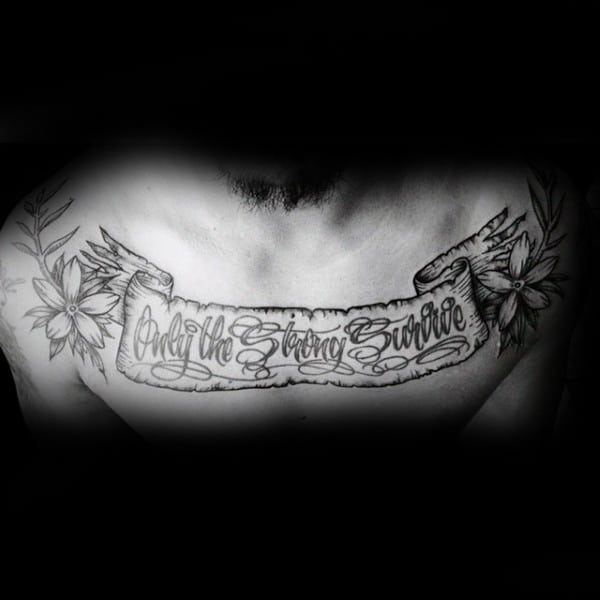 60 banner tattoos for men waving word ink design ideas. Black Bedroom Furniture Sets. Home Design Ideas