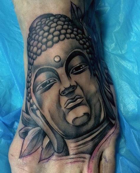 Open Eyed Buddha Portrait Tattoo On Feet For Men